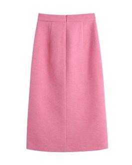 Elegant High Waist Split Buttons Midi Skirt