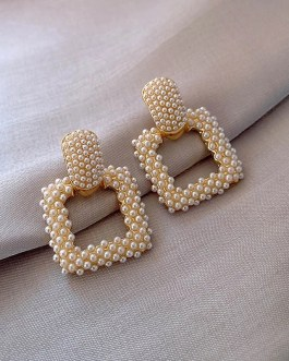 Elegant Pearl Geometric Square Dangle Earrings