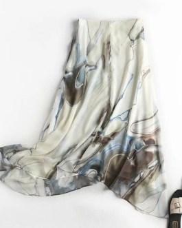 Elegant Vintage Printed  A-line Side Zipper Skirt