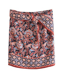 Fashion Boho Style Floral Printed Mini Skirts