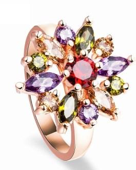 Fashion Charm Luxury Colorful Zircon Ring