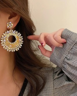 Fashion Hollow Alloy Drop Earrings