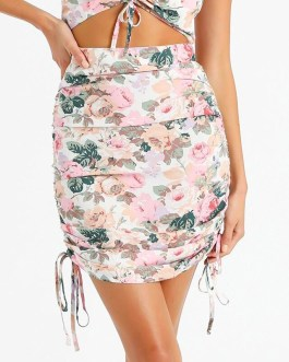 Sweet Floral Print Holiday Style Bodycon Mini Skirt