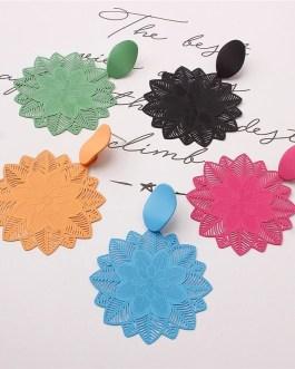 Vintage Forest Flower Big Hollow Pattern Earrings