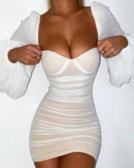 Sexy Strapless Party Club Wear Mini Dress