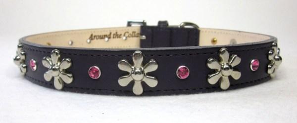 #1004C-15-1-Grape Leather Collar w-Nickel Flower & Rose Swarovski Stones