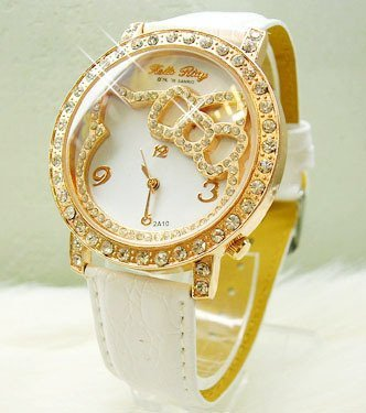 hello kity white gold watch