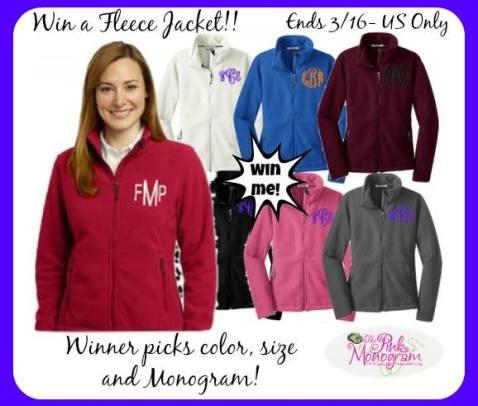 pink monogram fleece jacket
