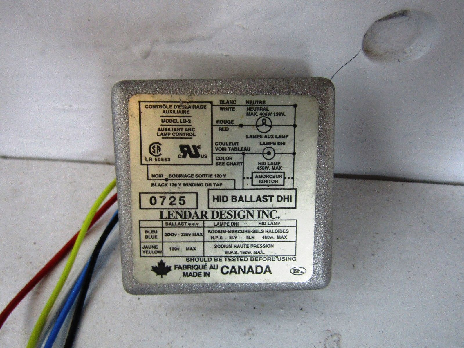 hight resolution of lendar design ld 2 120 volt 400 watt dhi hid ballast