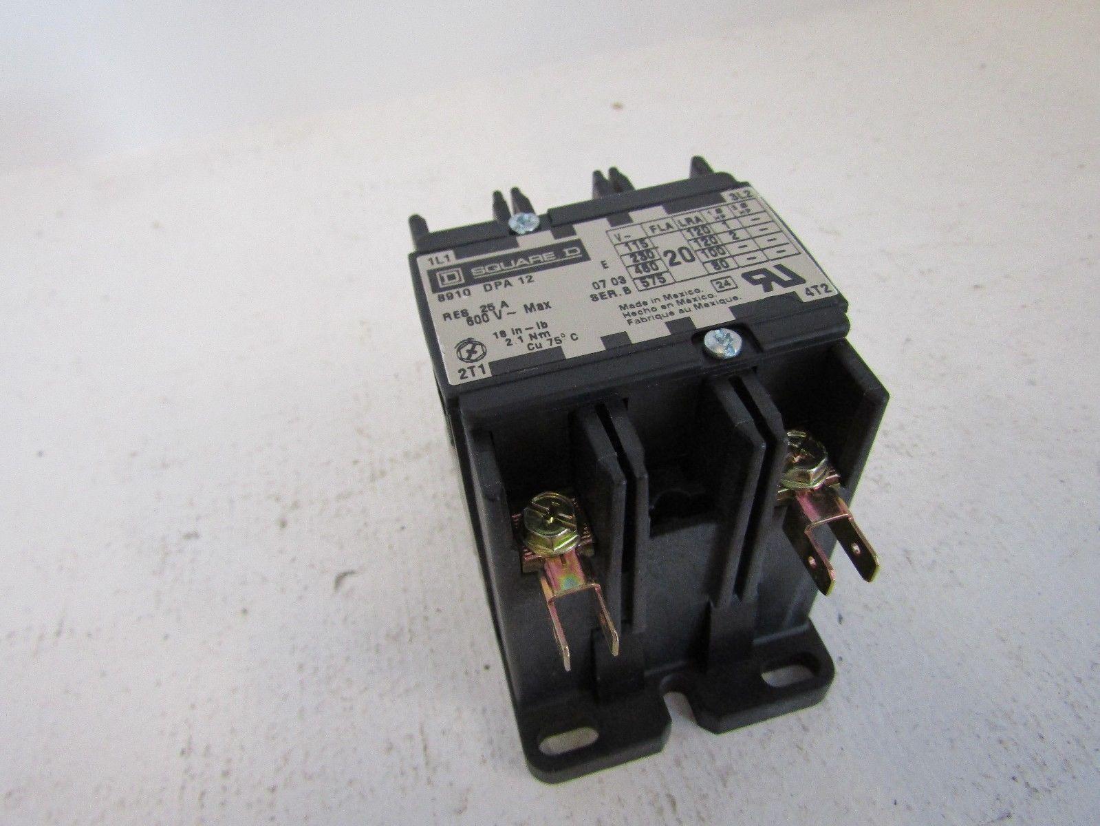 NEW SQUARE D 8910DPA12V14 2 POLE 20 AMP DEFINITE PURPOSE CONTACTOR 24 VOLT  COIL 231740007036 3