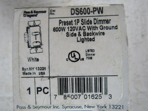 Pass And Seymour Ds600-pw Preset Slide Dimmer White ""