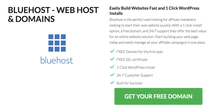 bluehost domain for How to create a website for affiliate marketing