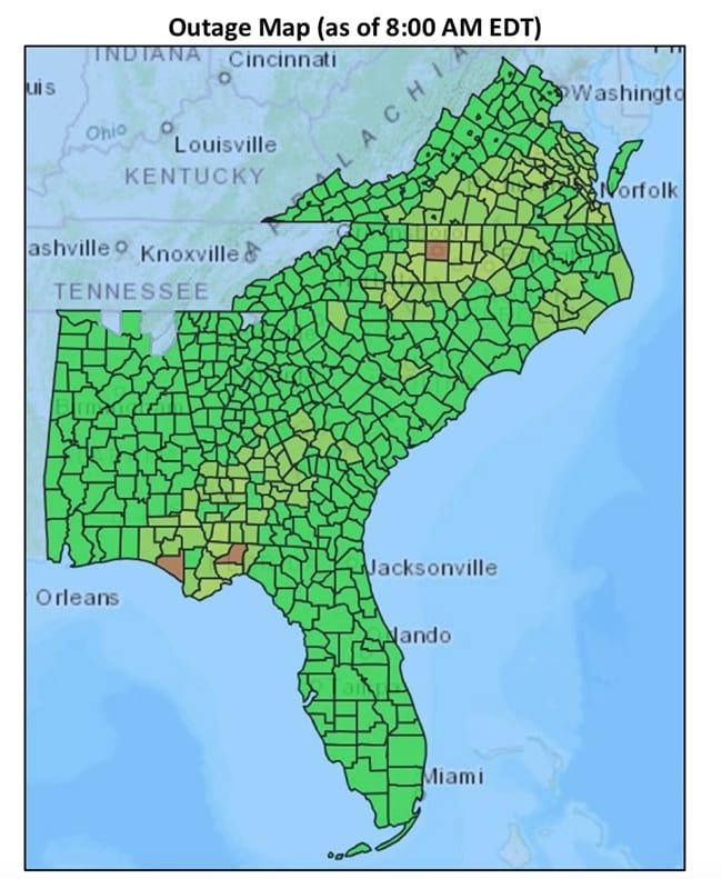 Map Of Hurricane Michael Damage : hurricane, michael, damage, Satellite, Hurricane, Michael's, Power, Outages