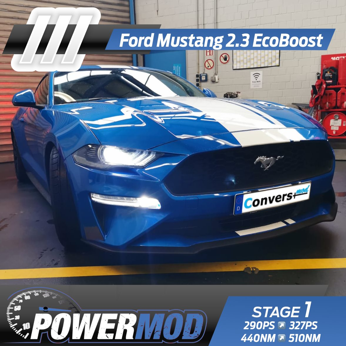 🔥 POWERMOD STAGE 1 🔥 🚗 Ford Mustang 2.3 EcoBoost 🚗 290 PS ↗️ 327 PS (+37PS) 440 NM ↗️ 510 NM (+70NM)