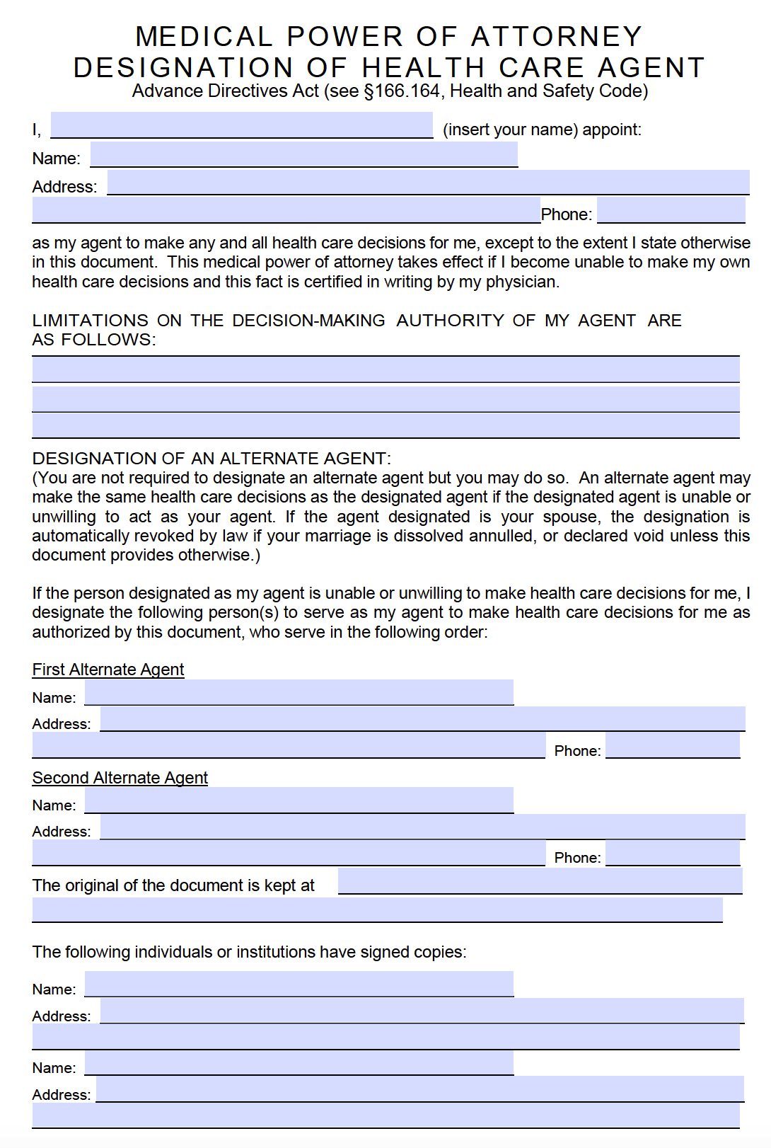 Free Medical Power Of Attorney Texas Form