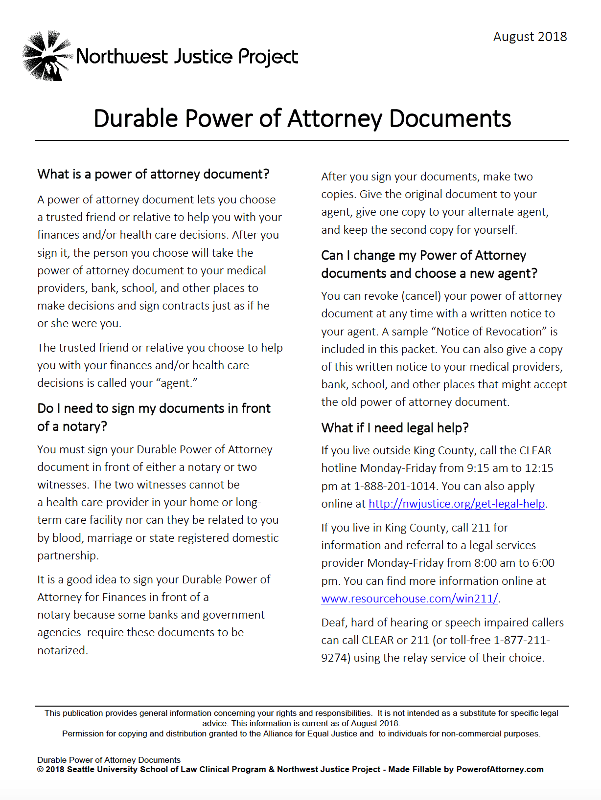 Free Durable Power Of Attorney Washington Form Adobe