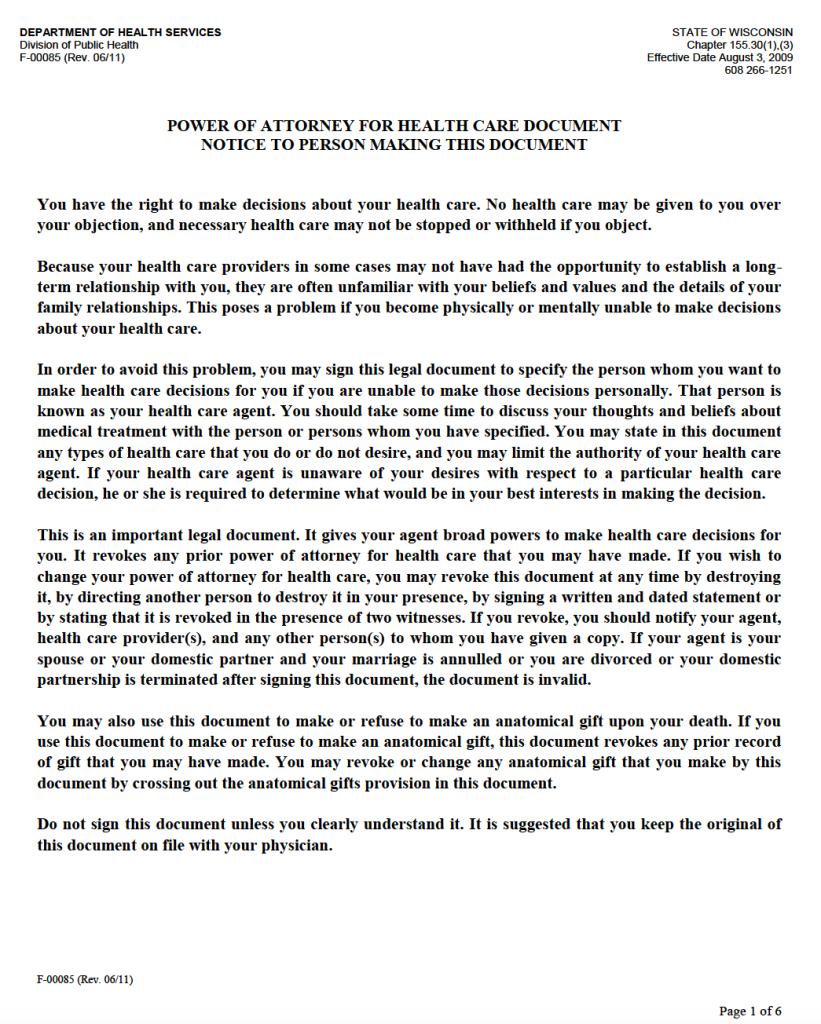 Free medical power of attorney wisconsin form adobe pdf adobe pdf falaconquin