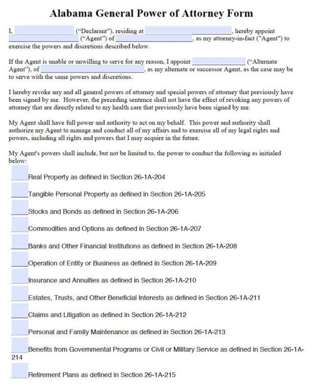 Free General Power Of Attorney Alabama Form Pdf Word
