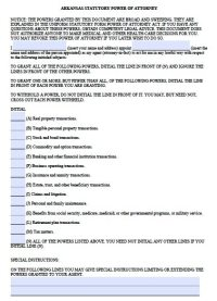 Free Durable Power of Attorney Arkansas Form  Fillable PDF