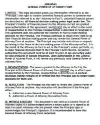 Free General Power of Attorney Arkansas Form  PDF Template