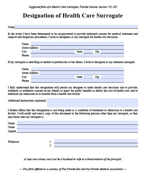 Free Medical Power of Attorney Florida Form – PDF Template