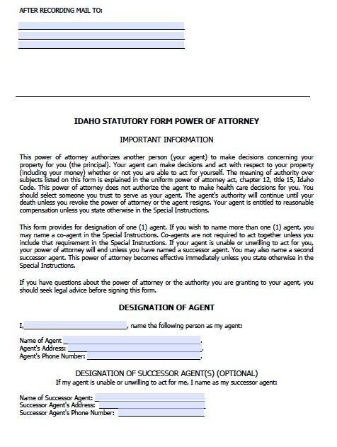 Idaho Durable Statutory Power of Attorney Form
