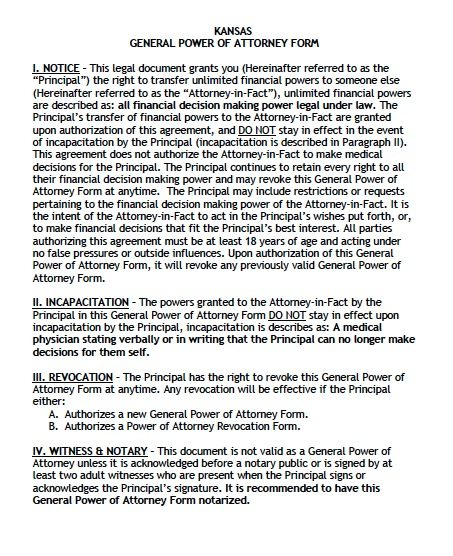 Kansas General Financial POA Form