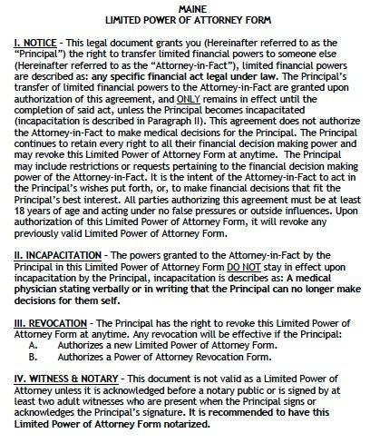 Maine Limited Financial Power of Attorney Form