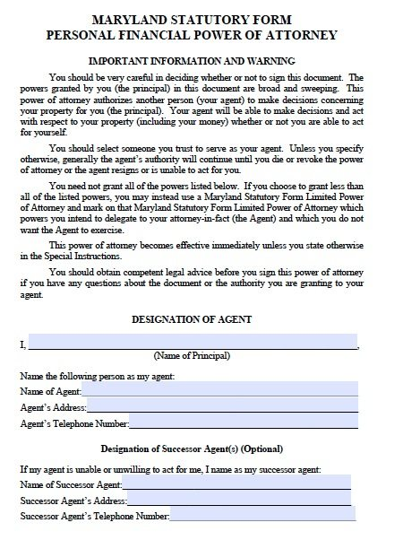 Maryland Durable Financial Power of Attorney Form