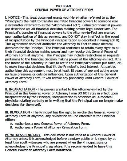 Michigan General Financial Power of Attorney