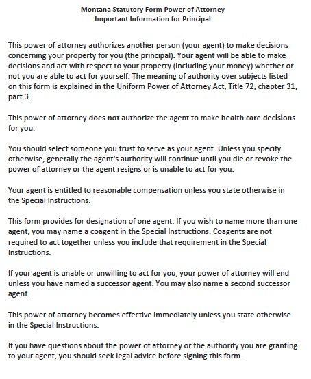 Montana Statutory Durable Power of Attorney Form