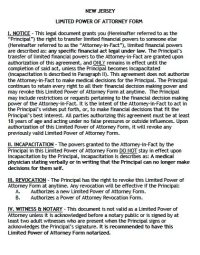 Free Limited Power of Attorney New Jersey Form  Adobe PDF