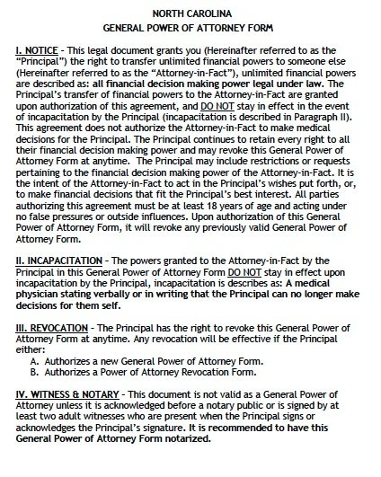 North Carolina General Power of Attorney