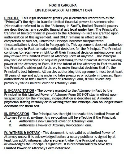 North Carolina Financial Limited Power of Attorney Form