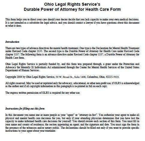 Ohio Medical Power of Attorney