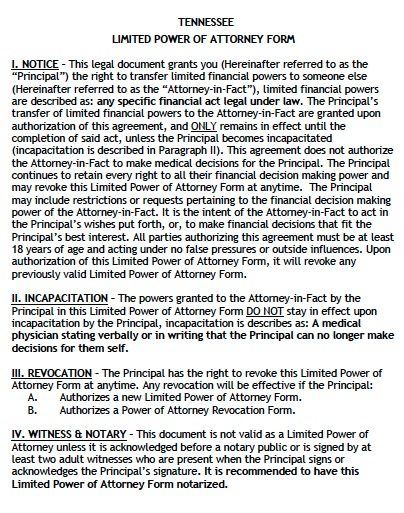 Tennessee Limited Power of Attorney Form - Non-Durable