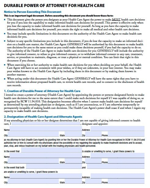 Washington Durable Health Care Power of Attorney Form