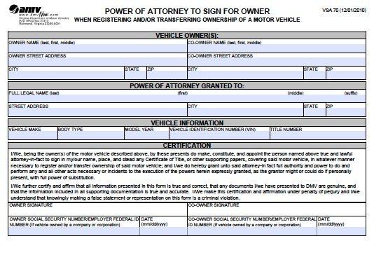 DMV POA Form
