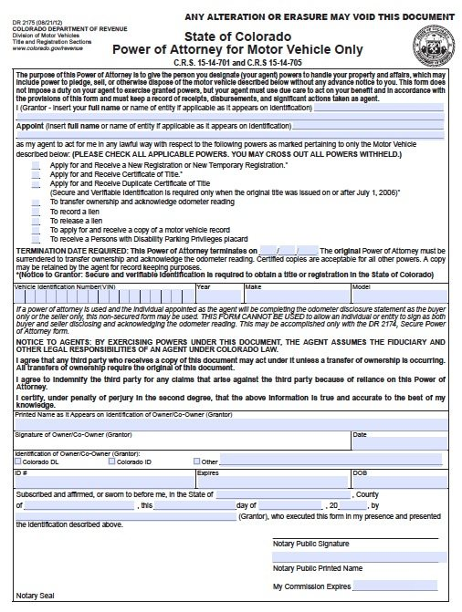 Free vehicle power of attorney form colorado pdf template for Texas motor vehicle record