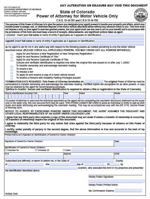 free vehicle power of attorney form colorado  u2013 pdf template