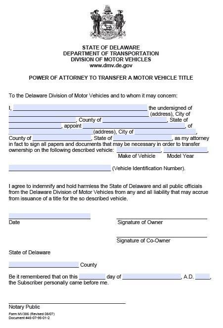 Delaware Transfer Motor Vehicle Power of Attorney
