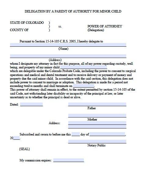 Free Minor Child Power of Attorney Delegation Form Colorado – PDF