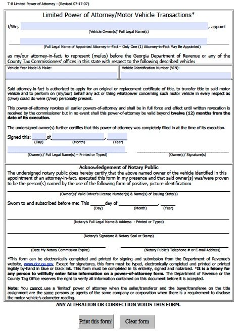Vehicle Power of Attorney Form for Georgia (T-8)
