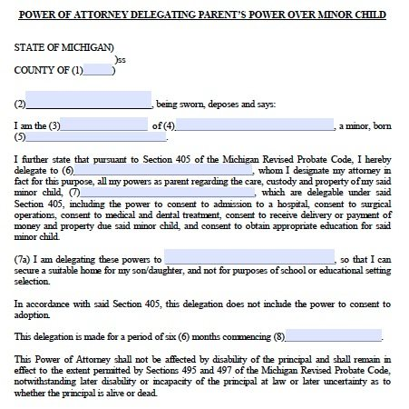 power of attorney form michigan Free Minor Child Guardianship POA Michigan Form – PDF