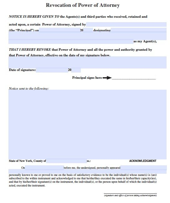 New York Revocation POA Form