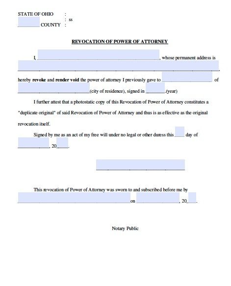 Free Revocation Of Ohio Power Of Attorney Form Adobe Pdf