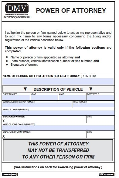 Oregon Motor Vehicle Power of Attorney Form