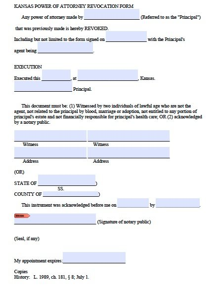 Kansas Revocation POA Form