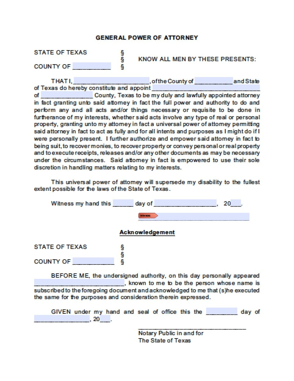 power of attorney form texas  Power Of Attorney Form For State Of Texas | Resume Maker ...