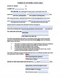 Texas Minor Child Power of Attorney Form - Power of ...